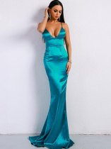 V Neck Backless Bodycon Trailing Evening Dress