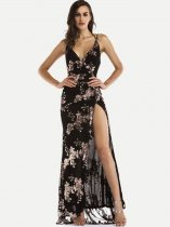 V Neck Embroidered Slit Maxi Formal Dress