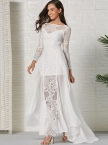 White Lace Chiffon Backless Trailing Wedding Dress