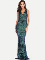 V Neck Sequin Bodycon Trailing Prom Dress
