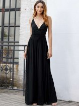 Black High Slit Backless Cami Prom Dress
