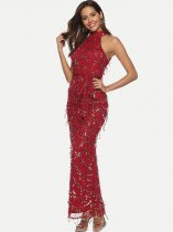 Red Sequin Tassel Bodycon Halter Dress