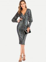 V Neck Sequin Bodycon Sexy Prom Dress