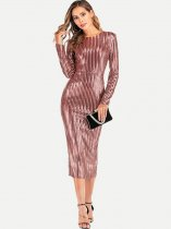 V Neck Back Sequin Striped Long Formal Dress
