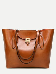 Magnetic Button Solid Color Tote Bag