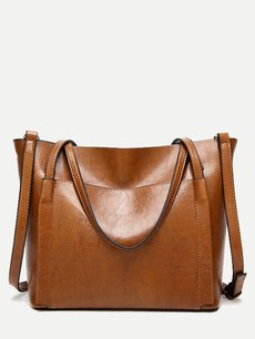 Front Pocket Solid Color Tote Bag
