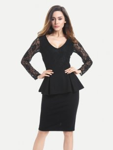 Black Lace Sleeve Office Work Pencil Dress
