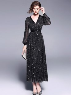 Vinfemass V-neck Long Evening Dress with Sequins