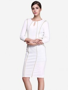 White Striped Business Pencil Midi Dress
