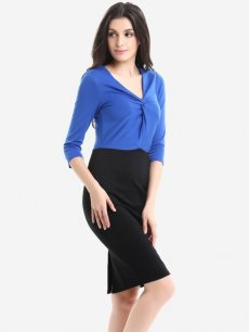 Womens Business Dress Work Office Pencil Deep V Neck Pleated Color Block Long Sleeve Knee Length Midi Dress