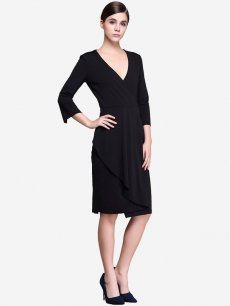 Womens Business Dress Black Work Office Pencil V Neck Ruffles Long Sleeve Solid Color Knee Length Midi Dress