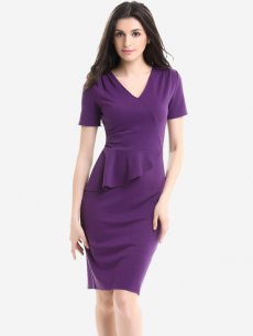 Womens Business Dress Purple Work Office Pencil V Neck Ruffles Knee Length Midi Dress With Sleeves