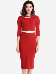 Womens Business Dress Red Work Office Pencil Solid Color Belted Long Sleeve Knee Length Midi Dress