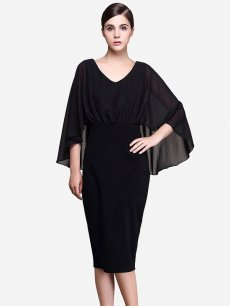 Womens Business Dress Black Work Office Pencil V Neck Batwing Long Sleeve Pleated Mesh Knee Length Midi Dress