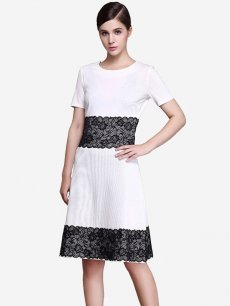 White Lace Trim Work Office Dress