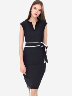 Womens Business Dress Black Work Office Pencil V Neck Solid Color Sleeveless Knee Length Midi Dress