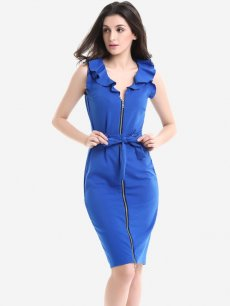 Womens Business Dress Work Office Pencil V Neck Ruffles Solid Color Lacing Zipper Front Sleeveless Knee Length Midi Dress
