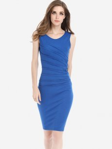 Solid Pleated Sleeveless Work Bodycon Dress