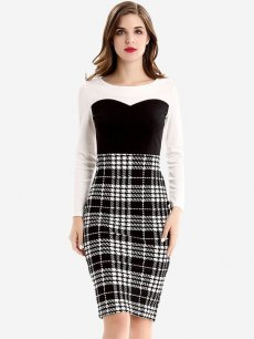 Color Block Plaid Work Pencil Dress