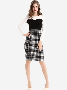 Womens Business Dress Work Office Pencil Color Block Plaid Print Long Sleeve Knee Length Midi Dress