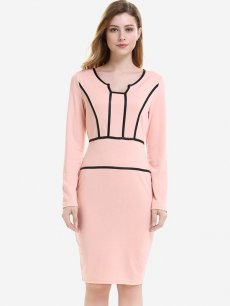 Womens Business Dress Pink Work Office Pencil Color Block Long Sleeve Striped Knee Length Midi Dress