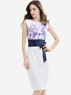 White Floral Print Sleeveless Lacing Office Pencil Dress