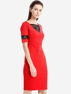 Womens Business Dress Work Office Pencil V Neck Lace Solid Color Knee Length Midi Dress With Sleeves