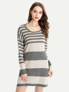 Vinfemass Stripe Printed Color Block Knitted Slim Sweater Dress