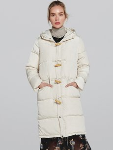 Long Hooded Puffer Down Coat Jacket