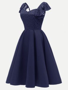 Vinfemass V-neck Lace Satin Patchwork Sleeveless Party Skater Dress