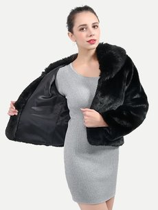 Vinfemass Fur Collar Black Short Thick Faux Rabbit Fur Coat