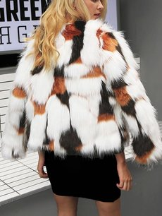 Vinfemass Multicolor Elegant Faux Fur Coat