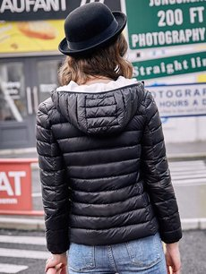 Solid Hooded Puffer Down Coat Jacket