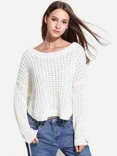 Womens Knit Sweater Jumper Irregular Hem Hollow Loose Pullover
