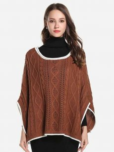 Solid Batwing Sleeve Knit Sweater