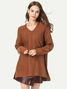 Womens Knit Sweater Jumper V Neck Solid Color Loose Pullover