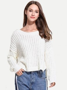 Solid Hollow Asymmetrical Sweater