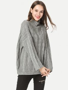 High Neck Solid Knit Sweater