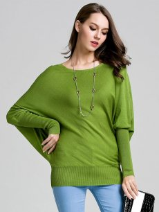Womens Knit Sweater Jumper Batwing Sleeve Solid Color Pullover
