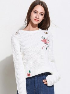 Womens Knit Sweater Jumper Embroidery Flowers Pattern Pullover