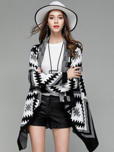 Black Geometric Asymmetrical Cardigan Sweater