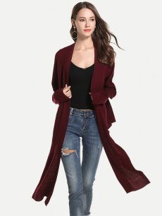Solid Irregular Knit Cardigan