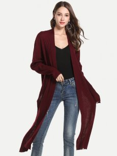 Womens Knit Cardigan Irregular Hem Slit Side Sweater