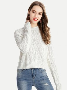 Womens Knit Sweater Jumper Solid Color Plus Size Pullover
