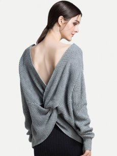 Womens Knit Sweater Jumper V Neck Backless Loose Solid Color Pullover