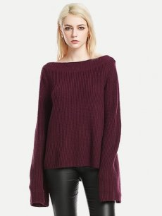 Womens Knit Sweater Jumper Boat Neck Loose Solid Color Pullover