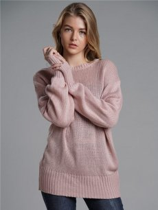 Womens Knit Sweater Jumper Backless Bowknot Loose Pullover