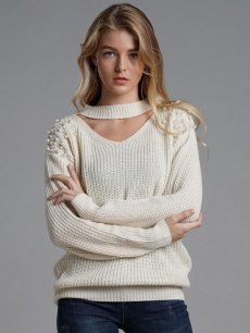 Womens Knit Sweater Jumper V Neck Beads Solid Color Loose Pullover