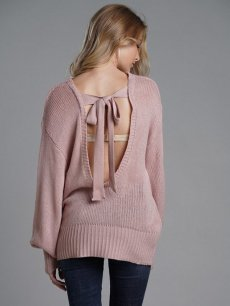 Pink Backless Bowknot Knit Sweater