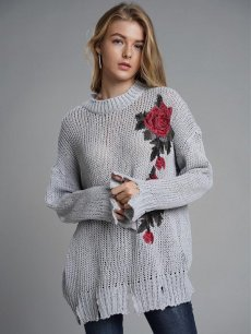 Womens Knit Sweater Jumper Embroidery Flowers Pattern Loose Pullover